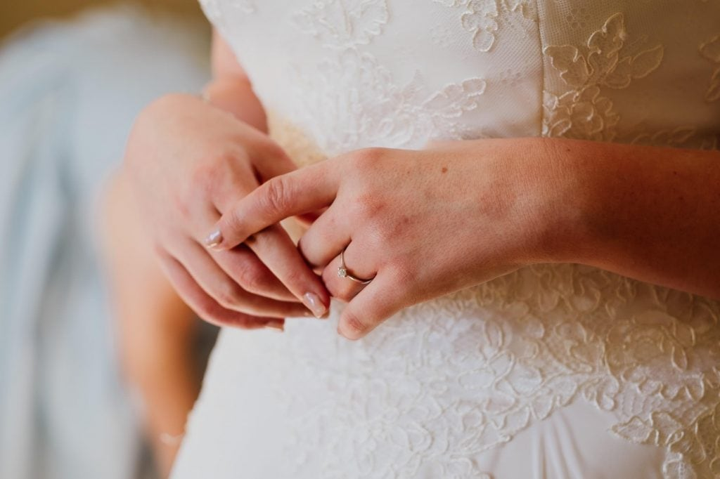 Close of bride's engagement ring
