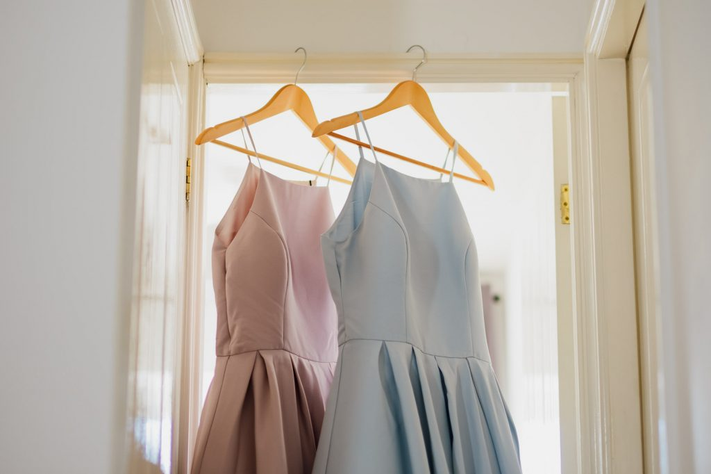Pastel pink and blue bridesmaid dresses