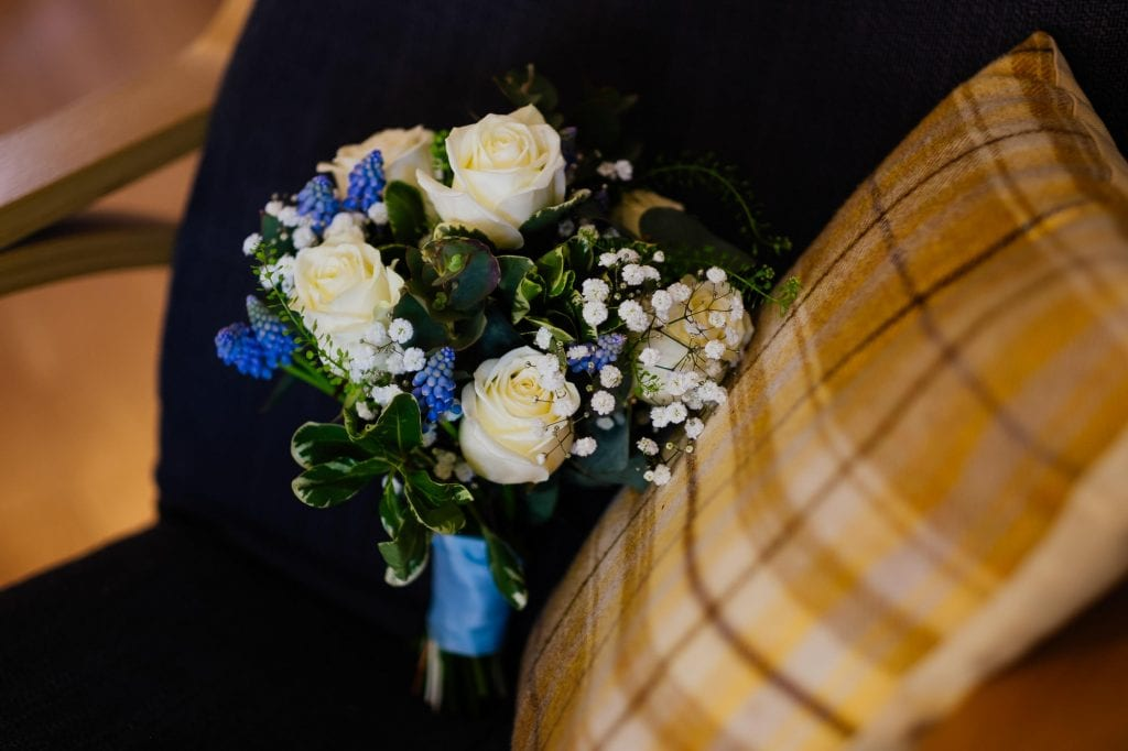 White rose, lavender and baby's breath wedding flowers