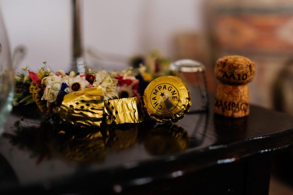 Champagne foil and cork