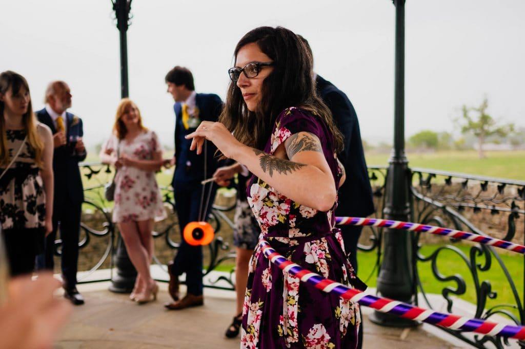 Wedding guest hula hoop