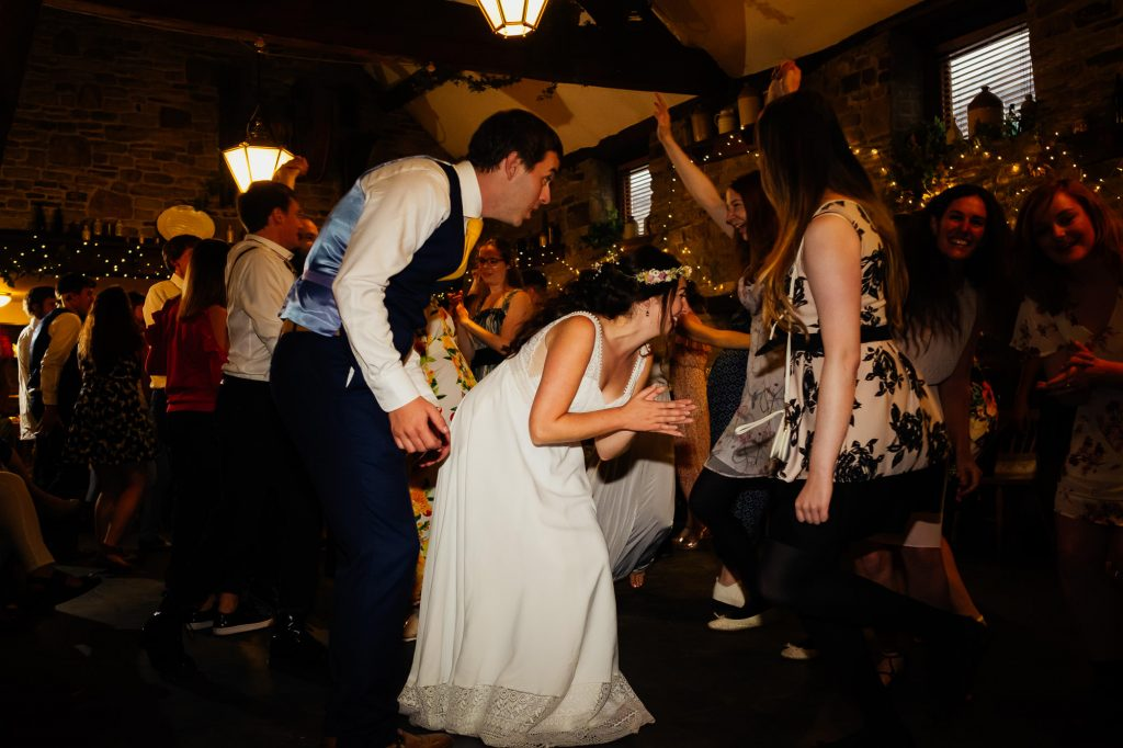 Bride and groom during ceilidh