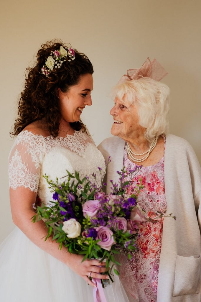 bride with grandma on wedding day