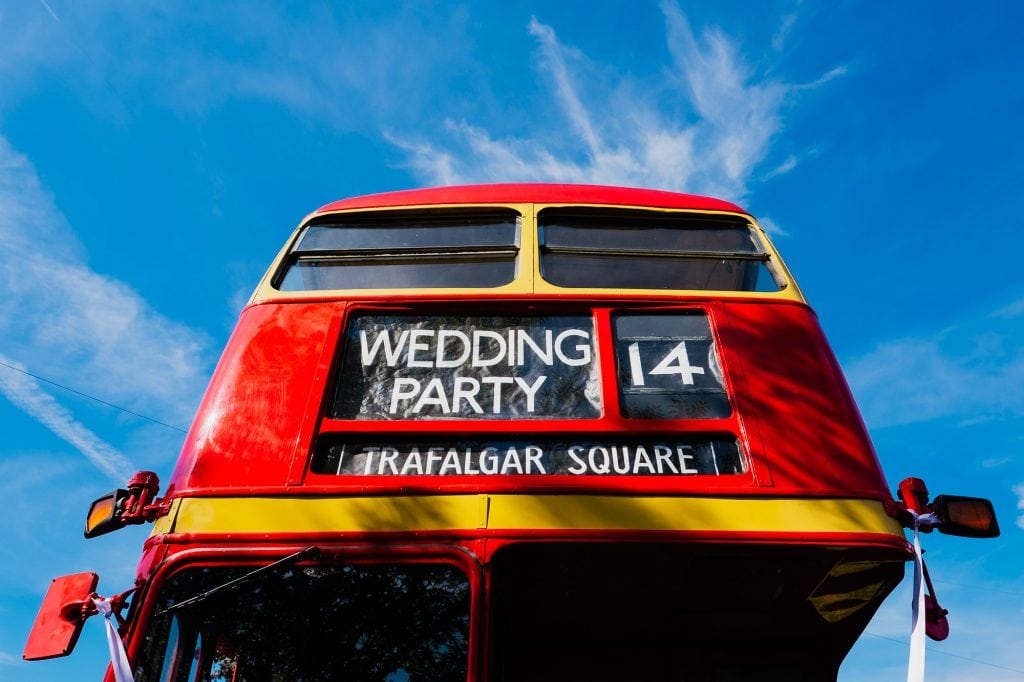 wedding party red bus