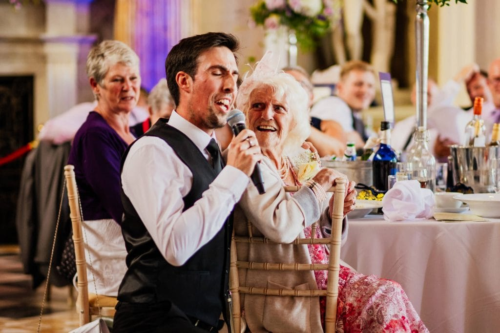 Singing waiter at wedding