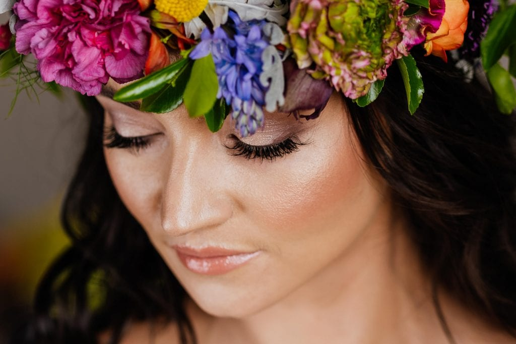 close up flower crown on bride