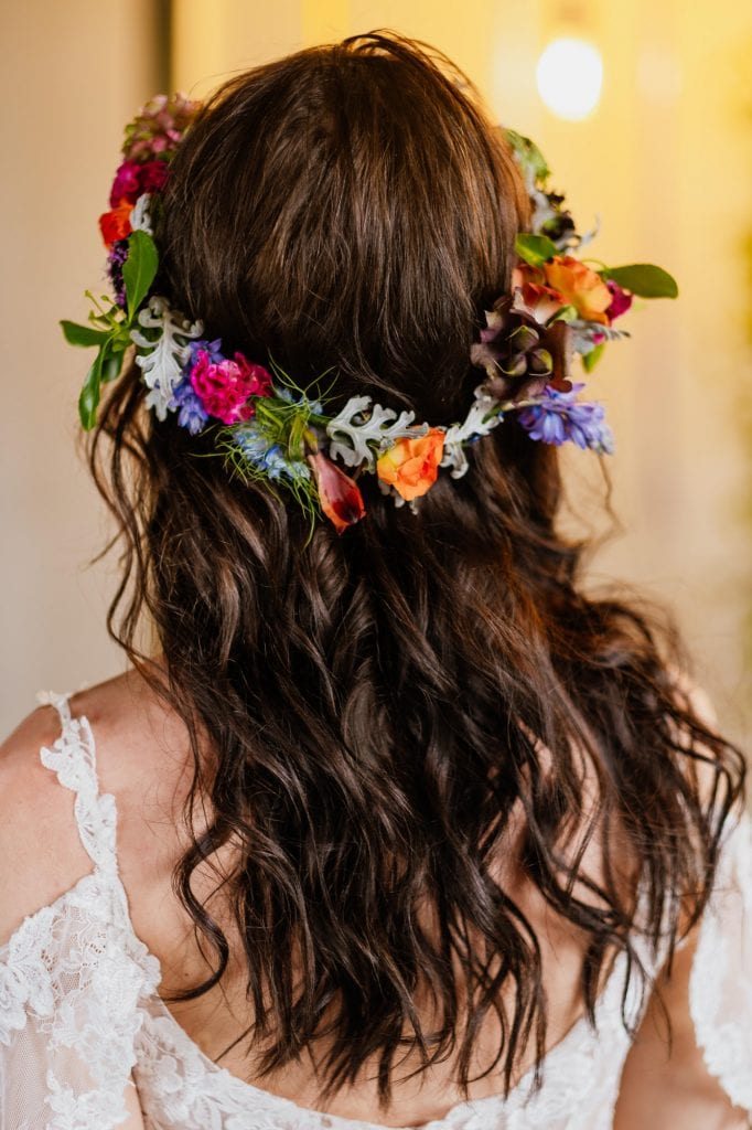 Natural wavy hair with flower crown