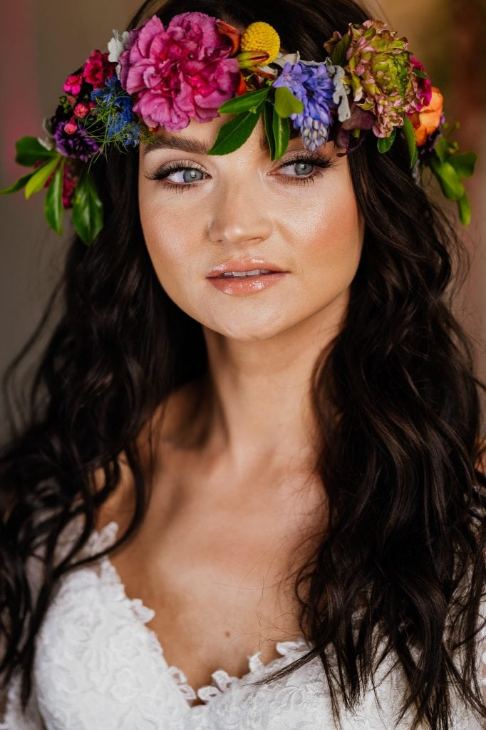 bride portrait natural makeup flower crown