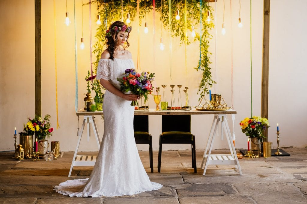 Bride in industrial wedding venue setting