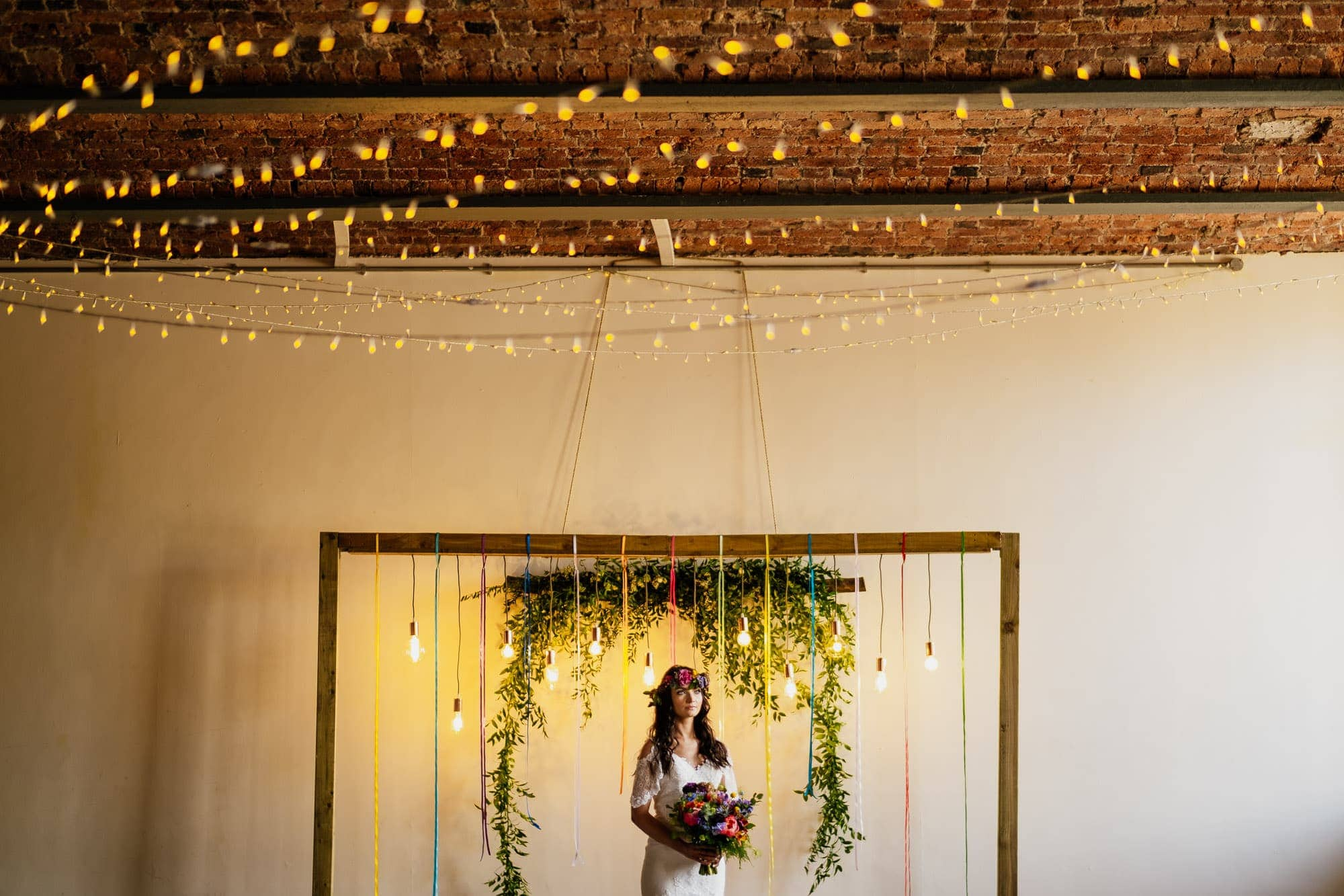 bride in industrial wedding venue