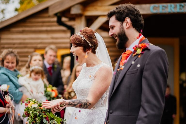 bride reaction after confetti throw