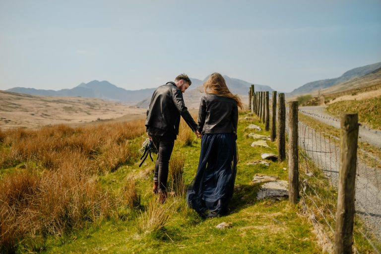 elopement couple in welsh countryside