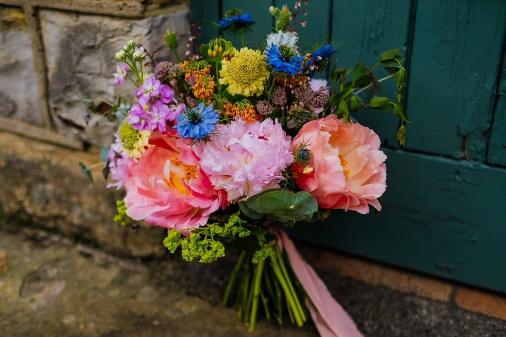 Summer peony wedding bouquet