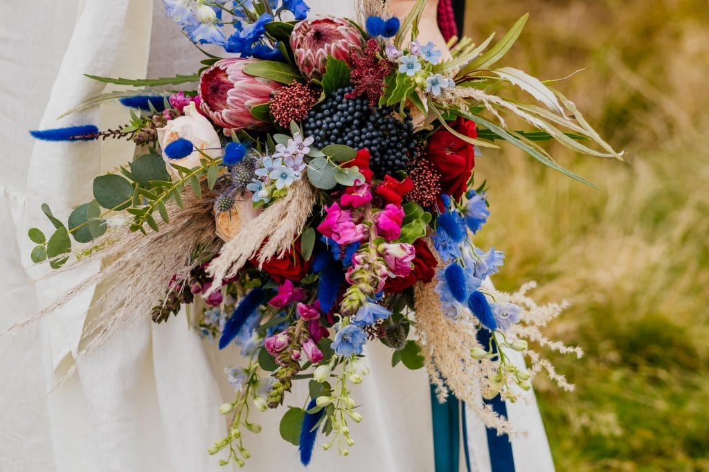 Pink, red and blue wedding bouquet