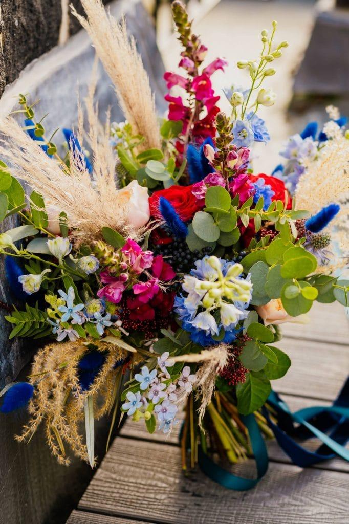 Blue bunny tail wedding bouquet