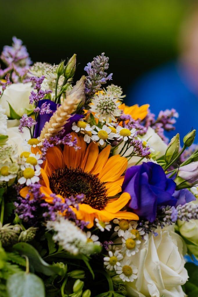 sunflower with daisies wedding bouquet