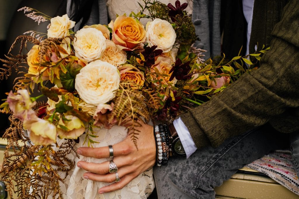 Wedding bouquet with pale roses
