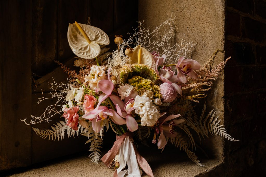 Pink wedding bouquet with lillies
